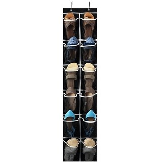 """Narrow Over the Door Shoe Organizer with 12 Mesh Pockets, Organizer for Accessories and Laundry Black with White Trim 12""""x57 ½"""""""