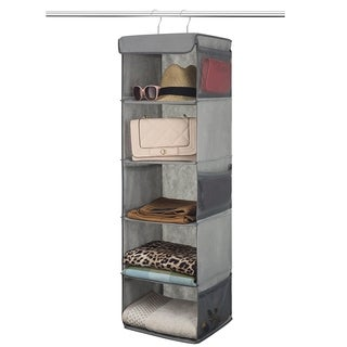 5 Shelf Hanging Closet Organizer Space Saver, Roomy Breathable Hanging Shelves With (6) Side Accessories Pockets Grey