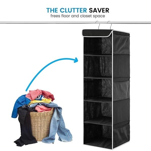 6 Side Mesh Pockets For Clothes Storage 5-Shelf Hanging Closet Organizer