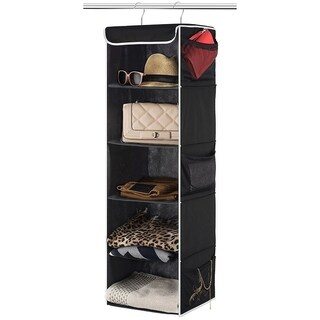 5-Shelf Hanging Closet Organizer - 6 Side Mesh Pockets Breathable Polypropylene Hanging Shelves - for Clothes Storage (Black)