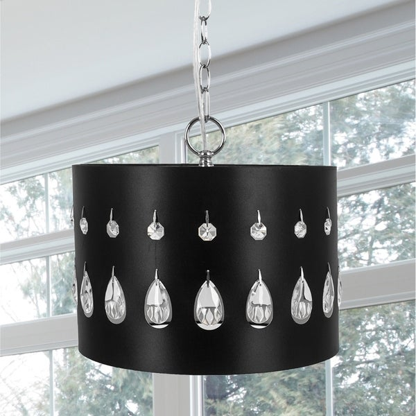 Crystal Glass Noir Tier-Drop Plug-in and Hardwire Hanging Pendant