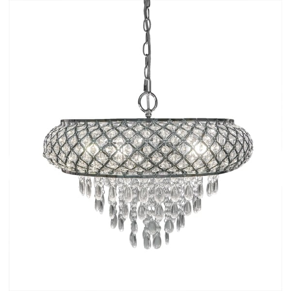 Clear and Chrome Tiered Crystal Glass Plug-in and Hardwire Hanging Chandelier