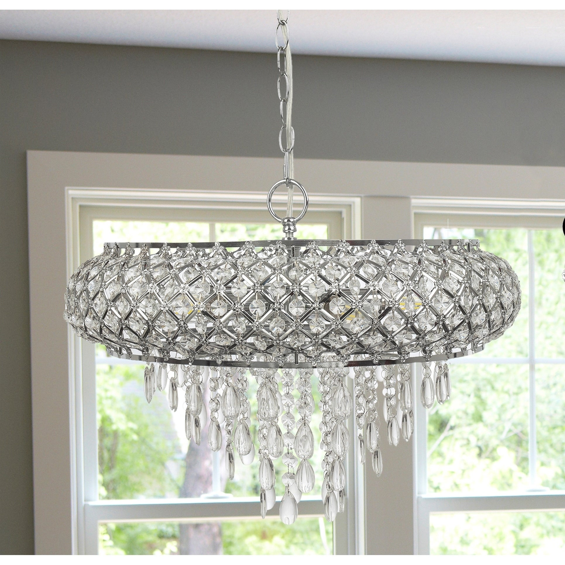 Silver Orchid Erlanger Clear and Chrome Tiered Crystal Glass Plug-in and Hardwire Hanging Chandelier
