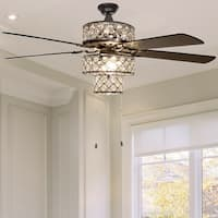 Silver Punched Metal Triple-Tiered Clear K-9 Crystal Ceiling Fan With Remote Control
