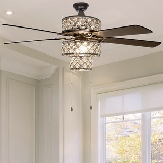 Silver Orchid Guinn Silver Punched Metal Triple-Tiered Clear Crystal Ceiling Fan With Remote Control
