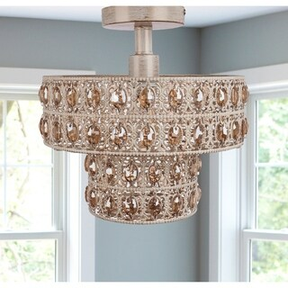 Double Layered Amber Faceted Crystal Glass Jewels in Brushed Gold + White Punched Metal Semi-Flush Mount Lighting Fixture