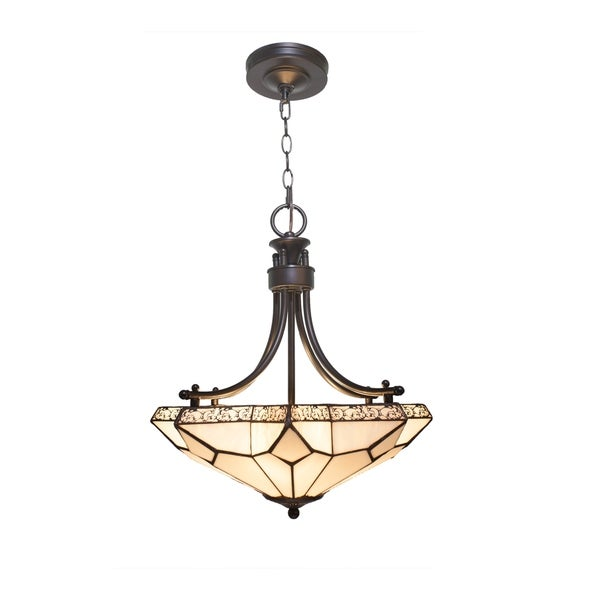 White Tier-Drop Stained Glass with Punched Metal Scallop Hanging Chandelier