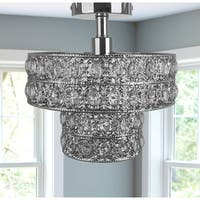 Double Layered Clear Faceted Glass Jewels + Chrome Punched Metal Semi-Flush Mount Lighting Fixture