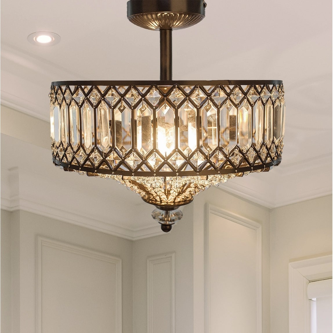 Silver Orchid Furey Tiered Jeweled Glass + Bronzed Metal Semi-Flush Mount Lighting Fixture