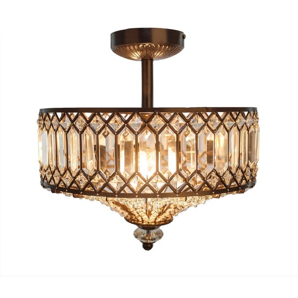 River of Goods 14.5 H Tiered Jeweled Glass + Bronzed Metal Semi-Flush Mount  sc 1 st  Overstock.com & Shop River of Goods 14.5