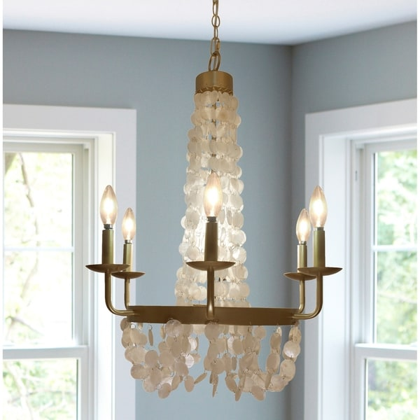 Brushed Gold Capiz Shell Candelabra Plug In And Hardwire 6 Arm Chandelier