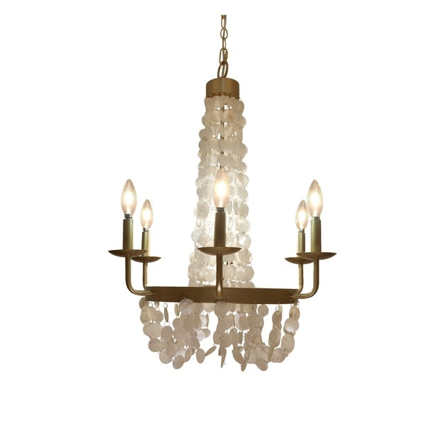 Brushed Gold + Capiz Shell Candelabra Plug-in and Hardwire 6-Arm Chandelier