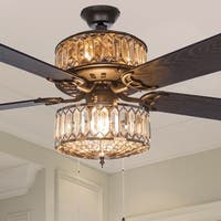 Silver Geometric Diamond Shaped Double-Layered Clear K-9 Crystal Ceiling Fan With Remote Control