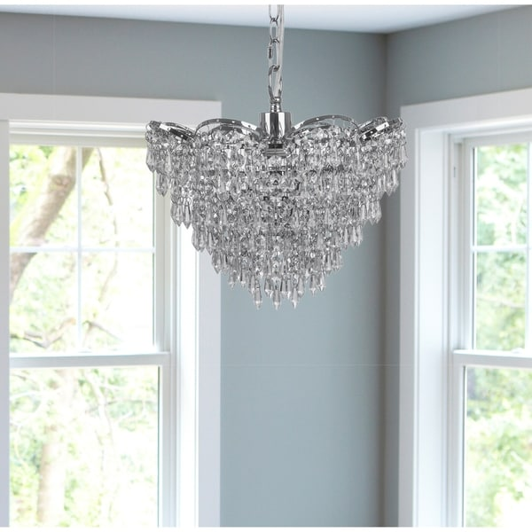 Silver Orchid Furey Cascading Crystal Glass Plug-in and Hardwire Hanging Chandelier