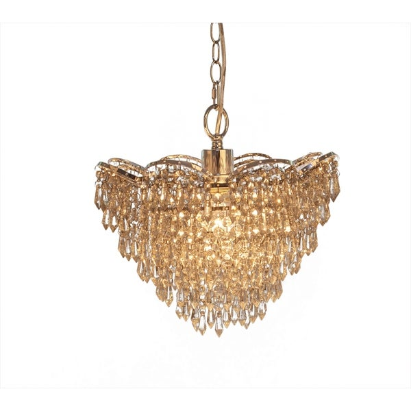 Cascading Crystal Glass Plug-in and Hardwire Hanging Chandelier