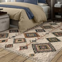 The Curated Nomad Escolta Moroccan Ivory Area Rug with Fringe - 7'10 x 10'10