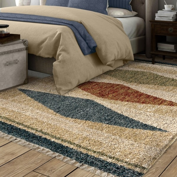 "Carson Carrington Kopavogur Diamond Multicolored Fringe Area Rug - 7'10"" x 10'10"""