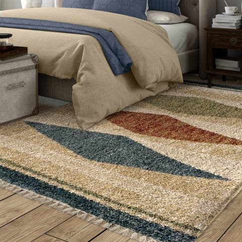 "Carson Carrington Kopavogur Diamond Multicolored Fringe Area Rug - 5'3"" x 7'6"""