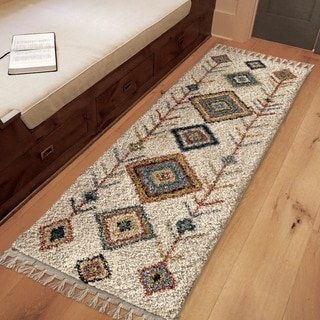 """The Curated Nomad Escolta Moroccan Tribal Ivory Fringe Runner Rug - 1'11"""" x 7'6"""""""