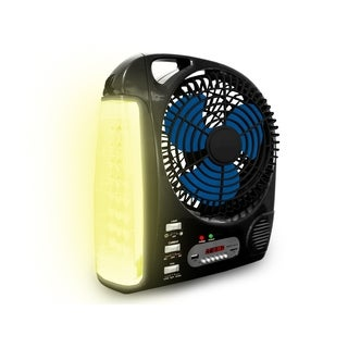 Rechargeable Camping Fan with Radio Speaker and LED Work Lamp