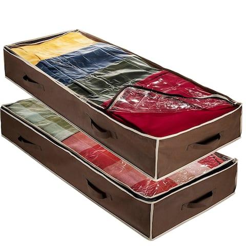 Underbed Storage Bag-Pack of 2 Fabric Storage For Linens, Blanket, Etc