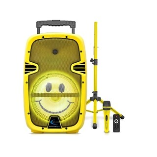 "SMILE15"" Rechargable Bluetooth LED Loudspeaker Package with Tripod & Microphone - Yellow"