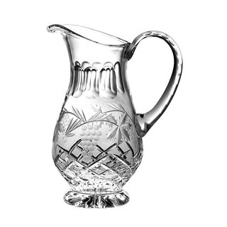 Majestic Gifts Hand Cut - Mouth Blown Crystal Footed Pitcher - with Handle - Grapevine Design - 43 oz. - Made in Europe