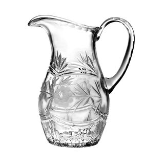 "Majestic Gifts Hand Cut - Mouth Blown Crystal Pitcher - 54oz. - 9.75"" height - Made in Europe"