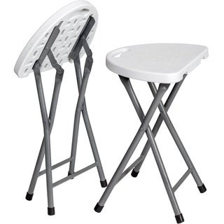 Folding Stool (Set of 2) Portable Plastic Chair with Durable Steel Frame Legs, Weather Resistant for Indoor/Outdoor Use, White