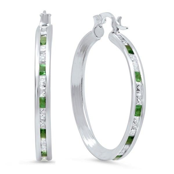 Pori Jewelers Princess Cut Hoop Earrings In Sterling Silver Wcrystals By Swarovski Elements