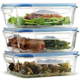 Glass Food Storage Containers (3 Pack 35 oz) Airtight Snap Locking Lid