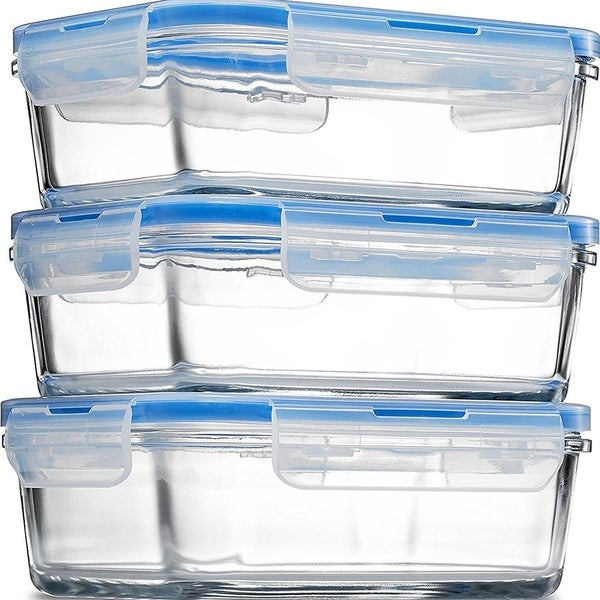 Glass Meal Prep Food Storage Containers - Superior Borosilicate Glass (3 Pack 28 oz  sc 1 st  Overstock.com & Shop Glass Meal Prep Food Storage Containers - Superior Borosilicate ...