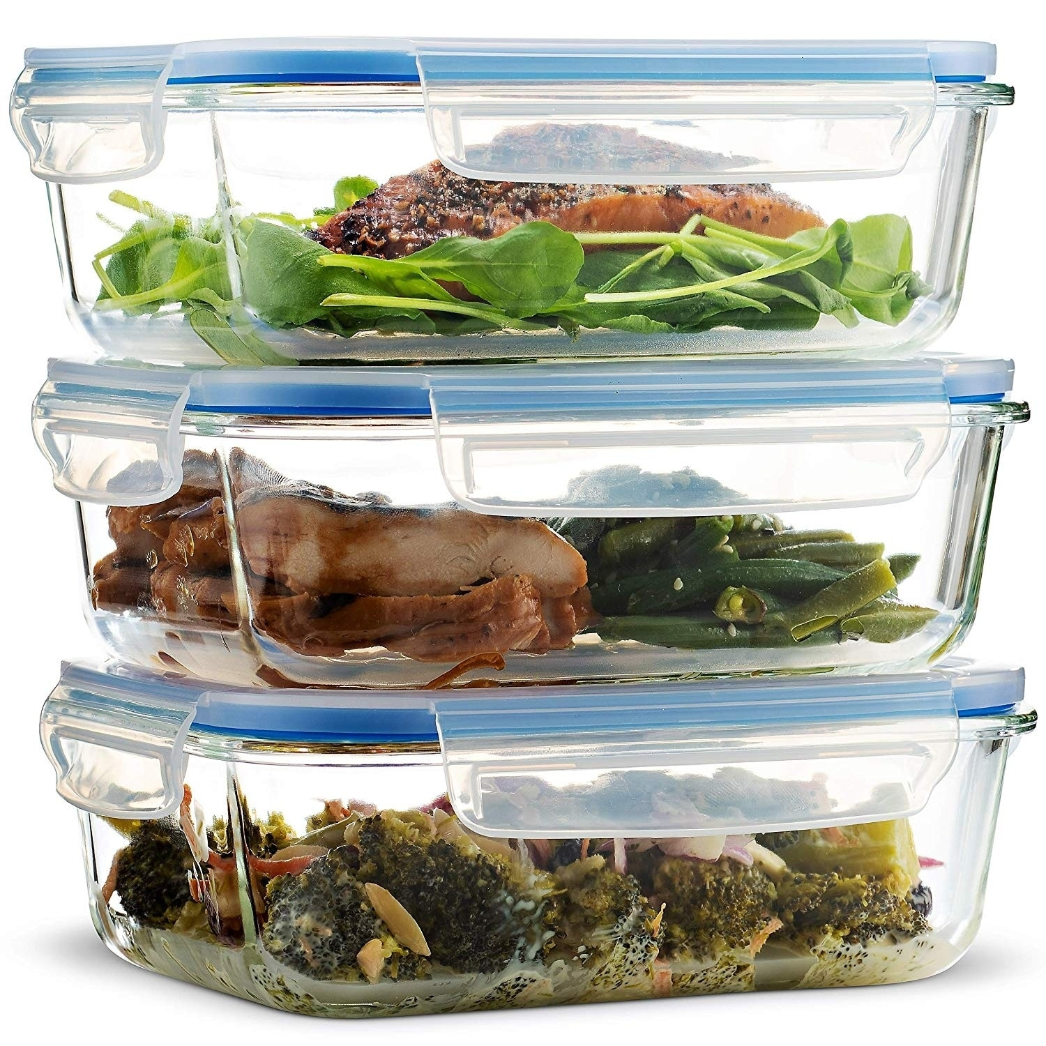 3425b8b31e5 Details about Glass Food Storage Containers (3 Pack 35 oz) Airtight Snap  Locking Lid