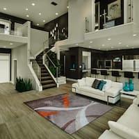 Geometric Shag Grey with Orange Design Area Rug In 5 Feet by 7 Feet - 5' x 7'