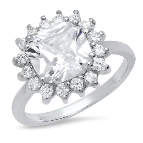 Pori Jewelers Cuchion-cut Halo Ring in Sterling Silver wCrystals by Swarovski