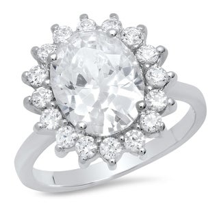 Pori Jewelers Oval-cut Halo Ring in Sterling Silver wCrystals by Swarovski Elements