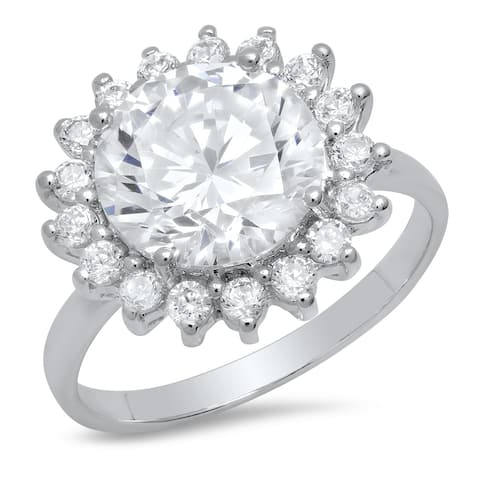 Pori Jewelers Round-cut Halo Ring in Sterling Silver wCrystals by Swarovski