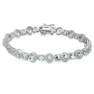 Pori Jewelers Caribbean Green Round-cut Tennis Bracelet in Sterling Silver wCrystals by Swarovski