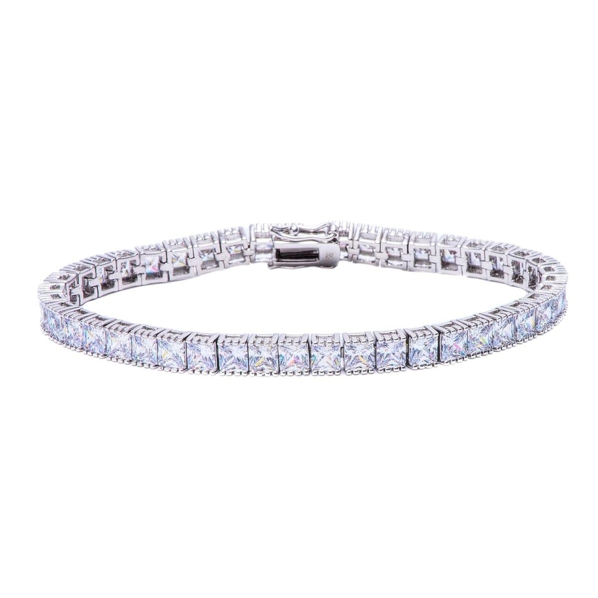 Pori Jewelers Rhodium Ptd Princess Tennis Bracelet Wcrystals By Swarovski Elements