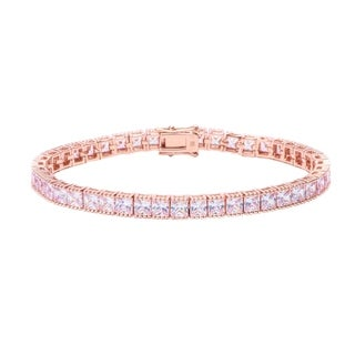 Pori Jewelers 18K Rose Gold ptd Princess Tennis Bracelet wCrystals by Swarovski Elements