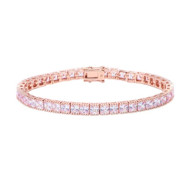 Pori Jewelers 18k Rose Gold Ptd Princess Tennis Bracelet Wcrystals By Swarovski Elements