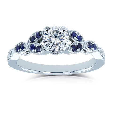 Annello by Kobelli 14k White Gold 5/8ct TGW Moissanite with Sapphire and Diamond Floral Engagement Ring (GH/VS, GH/I)