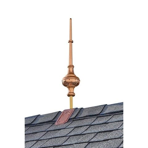 """28"""" Morgana Pure Copper Finial with Decorative Copper Roof Mount"""