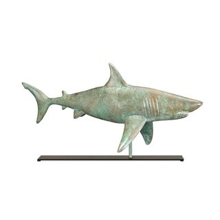 Shark Blue Verde Copper Weathervane Sculpture on Iron Mantel Stand Home Decor by Good Directions