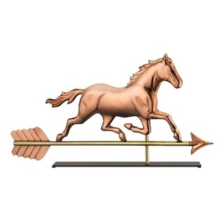 Trotting Horse Pure Copper Weathervane Sculpture on Iron Mantel Stand Nautical Home Decor by Good Directions