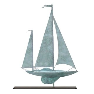 Yawl Blue Verde Copper Weathervane Sculpture on Iron Mantel Stand Nautical Home Decor by Good Directions