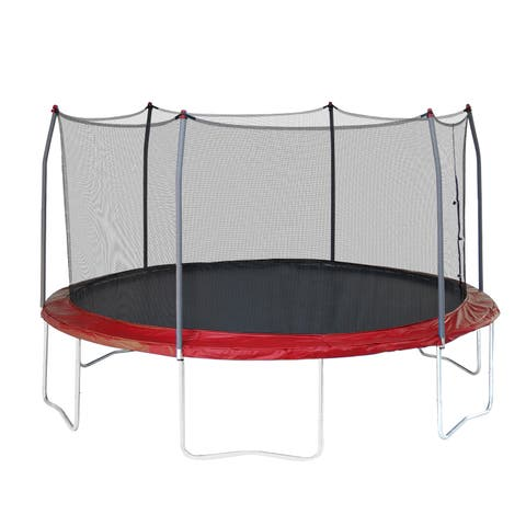 Skywalker Trampolines 15' Round Trampoline with Enclosure - Red
