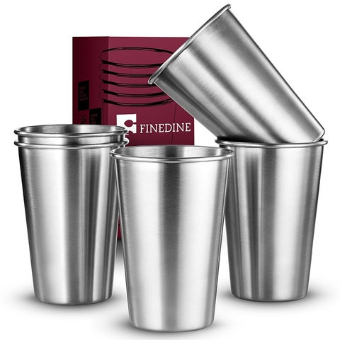 Premium Grade Stainless Steel Pint Cups Water Tumblers (5 Piece) Unbreakable, Stackable, Brushed Metal Drinking Glasses,