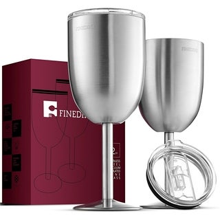 Premium Stainless Steel Wine Glasses Double-Walled Goblets (Set of 2)