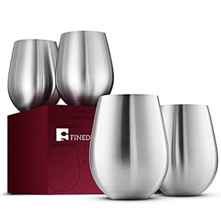 Stainless Steel Wine Glasses Set of 4 Large & Elegant 18 Oz. Premium Grade 18/8 Stainless Steel Red & White Stemless Wine Glass